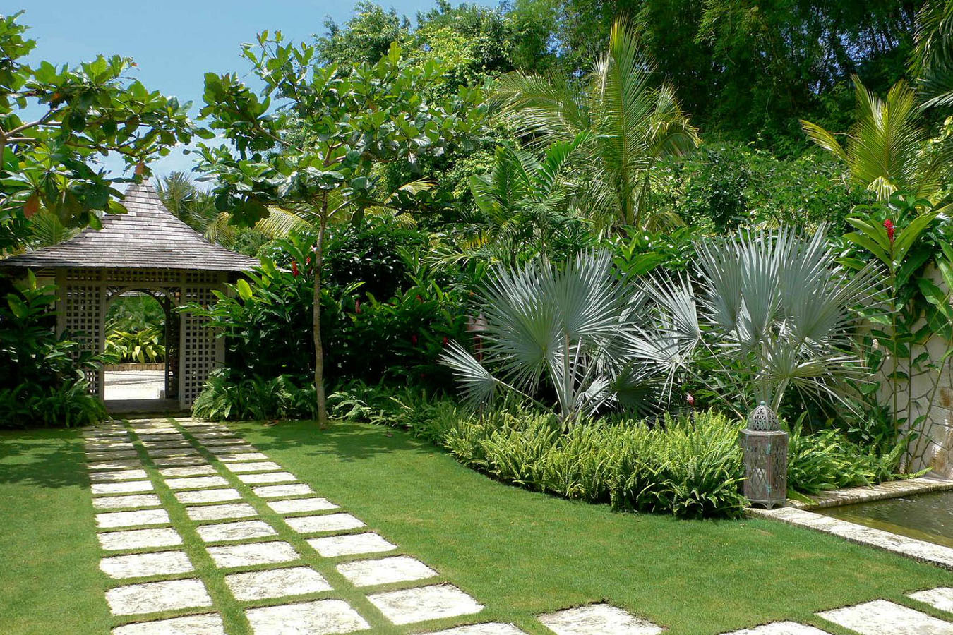 Symmetrical Tropical Front Yard Design